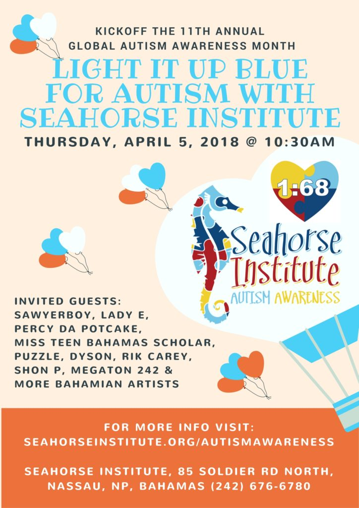 Seahorse Institute Autism Awareness Light It Up Blue Launch Invitation 2018